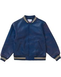 Supreme Worn Leather Varsity Jacket - Blue