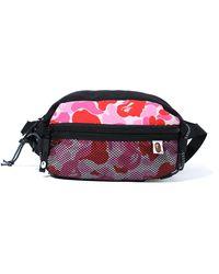 A Bathing Ape Abc Camo Bungee Cord Waist Bag - Pink