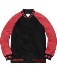 Supreme Suede Varsity Jacket - レッド