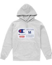Supreme Champion Label Hooded Sweatshirt - グレー