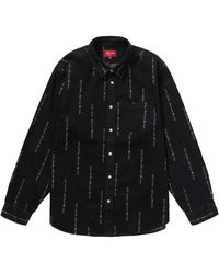 Supreme Logo Stripe Jacquard Denim Shirt - ブラック