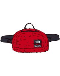 Supreme The North Face Faux Fur Waist Bag - Red