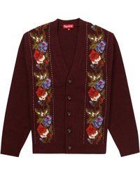 Supreme Floral Stripe Cardigan - Red