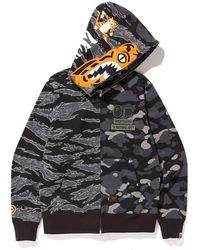 ed02d28a A Bathing Ape Color Camo Tiger Shark Full Zip Double Hoodie Black in Black  for Men - Lyst