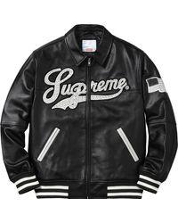 Supreme Uptown Studded Leather Varsity Jacket - ブラック
