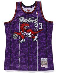 A Bathing Ape X Mitchell & Ness Raptors Camo Basketball Swingman Jersey - Purple