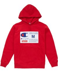 Supreme Champion Label Hooded Sweatshirt - レッド