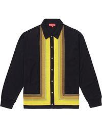 Supreme Corner Stripe Polo Sweater - Black