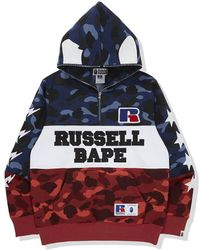 A Bathing Ape X Russell Colour Camo Ape Half Zip Pullover Hoodie - Red