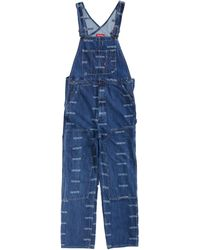 Supreme Logo Denim Overalls - Blue