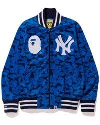 A Bathing Ape X Mitchell & Ness Yankees Jacket - Blue