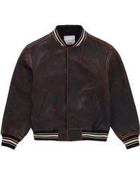 Supreme Worn Leather Varsity Jacket - ブラック