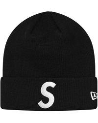 e3832fd290a Lyst - Supreme Cuff Logo Beanie Black in Black for Men