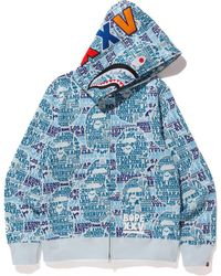 5643a12417be3 A Bathing Ape Xxv Cities Camo Panda Full Zip Hoodie White/blue in ...