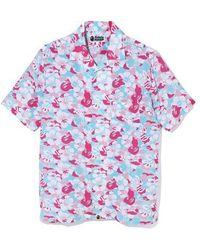 A Bathing Ape Store Miami Open Collar Shirt - ブルー