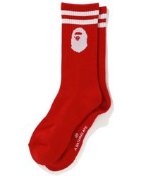 A Bathing Ape Ape Head Socks (fw19) Red