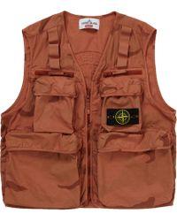 e4e0028945956 Stone Island Cargo Pocket Gilet in Black for Men - Lyst