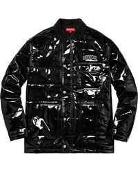 Supreme Quilted Patent Vinyl Work Jacket - Black