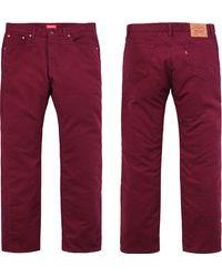 Supreme Levis Moleskin 505 Jean - Red