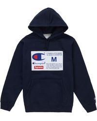 Supreme Champion Label Hooded Sweatshirt - ブルー