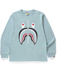 A Bathing Ape Shark L/s Tee - Blue