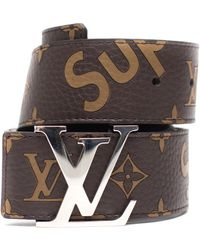 Supreme Louis Vuitton X Initiales Belt 40 Mm Monogram Silver - Brown