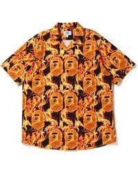A Bathing Ape Flame Open Collar Shirt - Orange