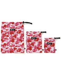 A Bathing Ape Abc Pouch (set Of 3) - Pink