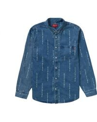 Supreme Logo Stripe Jacquard Denim Shirt - ブルー