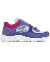 Chanel Low Top Sneaker Cc Ivory Blue (w)