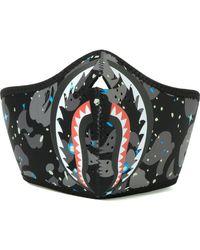 A Bathing Ape Space Camo Shark Mask - Black