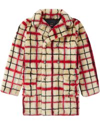 Supreme Jean Paul Gaultier Double Breasted Plaid Faux Fur Coat - Red