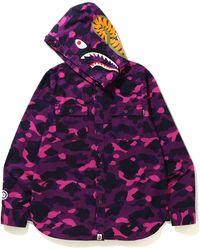 A Bathing Ape - Color Camo Shark Hoodie Shirt - Lyst