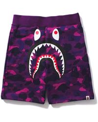 A Bathing Ape - Color Camo Shark Sweat Shorts - Lyst