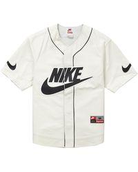 Supreme Nike Leather Baseball Jersey - White