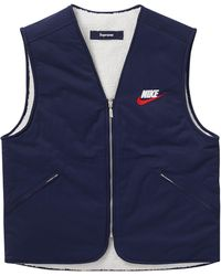 Supreme Nike Reversible Nylon Sherpa Vest - Blue