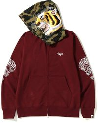 A Bathing Ape Tiger Embroidery Full Zip Hoodie - レッド