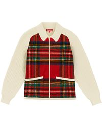 Supreme Plaid Front Zip Jumper 'fw 18' - Red