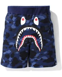 A Bathing Ape Color Camo Shark Sweat Shorts (ss21) - ブルー
