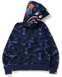 A Bathing Ape Color Camo Shark Wide Full Zip Double Hoodie - ブルー