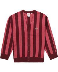 Supreme Lacoste Stripe Cardigan - Red