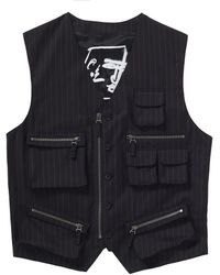 Supreme Jean Paul Gaultier Pinstripe Cargo Suit Vest - Black
