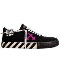 Off-White c/o Virgil Abloh - Off White Mens Black Cotton Stripe Vulcanized Canvas Low-top Trainers - Lyst