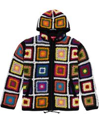 Supreme Crochet Hooded Zip Up Sweater - マルチカラー