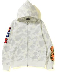 3844ce10 A Bathing Ape Tiger Full Zip Color Embroidery Hoodie White in White ...