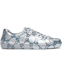 Gucci Ace GG Coated Leather Sneakers - Metallic
