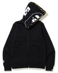 A Bathing Ape 1st Camo 2nd Ape Full Zip Hoodie - Black