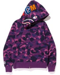 A Bathing Ape Color Camo Shark Full Zip Hoodie - パープル