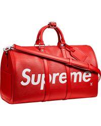 Supreme Louis Vuitton X Keepall Bandouliere Epi 45 Red