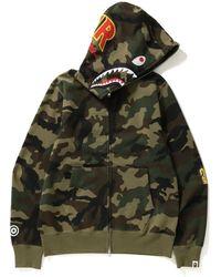 A Bathing Ape - Woodland Camo Shark Hoodie - Lyst